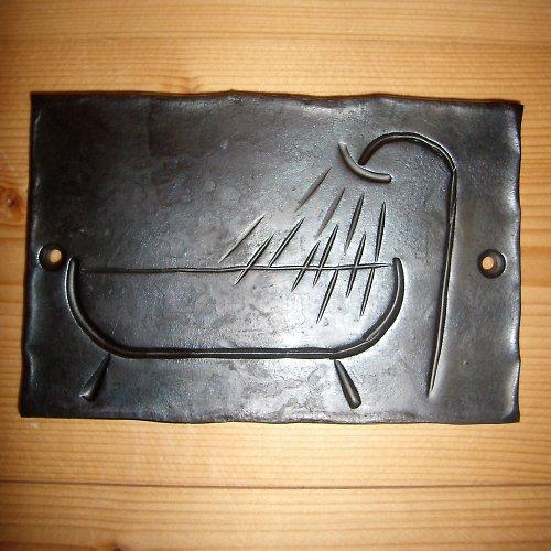 kovaná cedulka koupelna