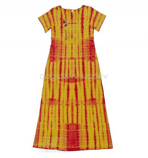 SLEVA: Batikované šaty - motýlci - žluté