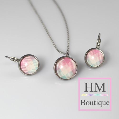 ocelový set -náušnice a náhrdelník kostičkové