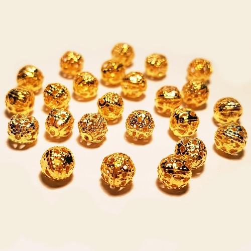 Korálek filigránový, zlatá, 6mm (10ks)