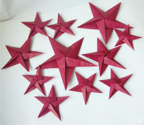 Papírové origami hvězdy tmavě červené 10 kusů