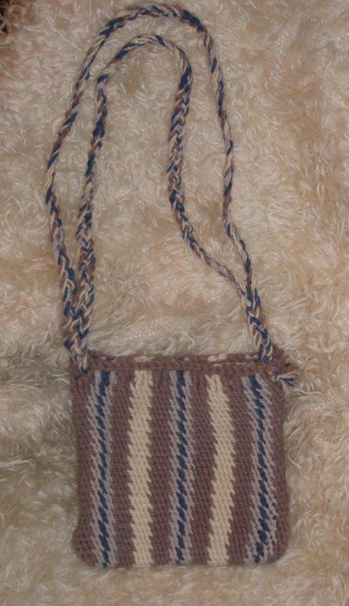 Pletená taška  Hnědo-modro-bílá