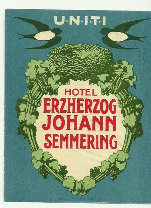 Hotelové nálepky Johann Semmering