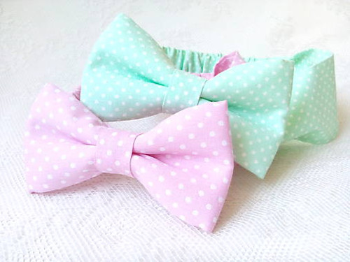 Mint&Pink&White dots headbands for kids