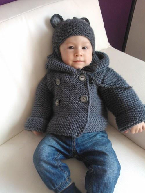 Dětský svetřík s kapuckou šedý