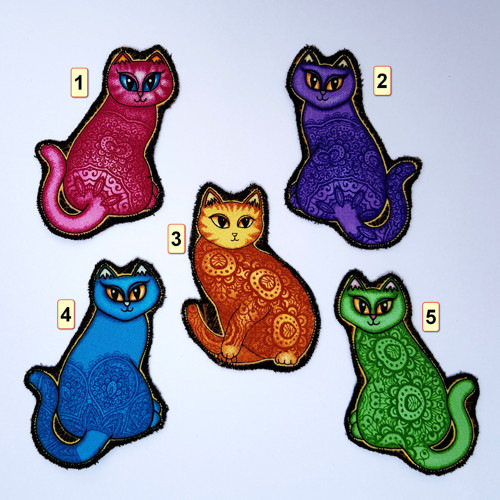 Nažehlovací záplaty sedící kočičky