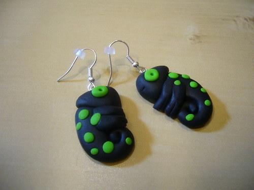 Náušnice - chameleoni černo-zelení