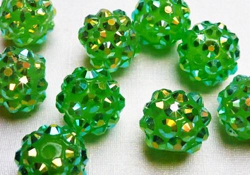 Discoball / Shamballa 12 mm - zelená / 1 ks