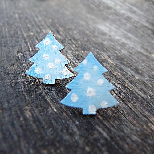 zimní puntíkaté stromečky – náušnice