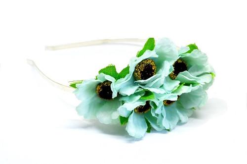 Kovová čelenka tyrkysové květy