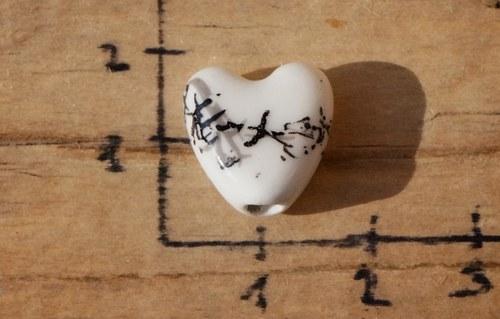 porcelánové srdíčko 1 ks -  B6771