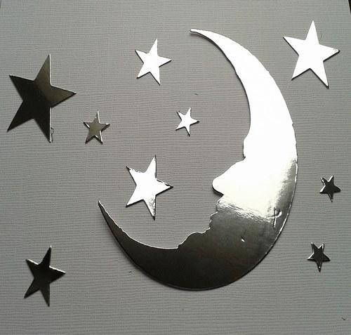 Měsíc a hvězdy - stříbrný