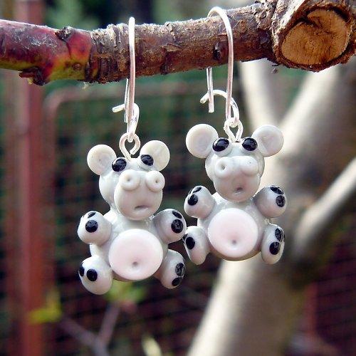 Náušnice hroch - vinuté perle