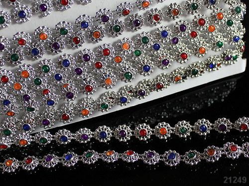 21249 Borta barevné kamínky - stříbrná á 10cm