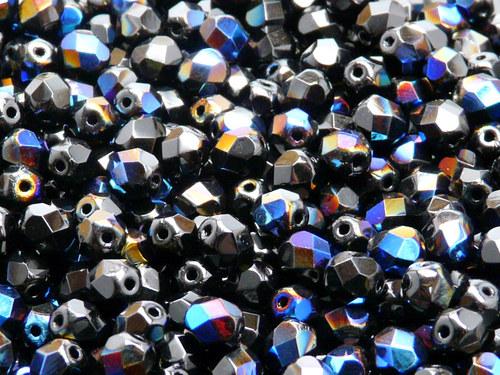 50ks Broušená kulička 6mm Černá/azuro