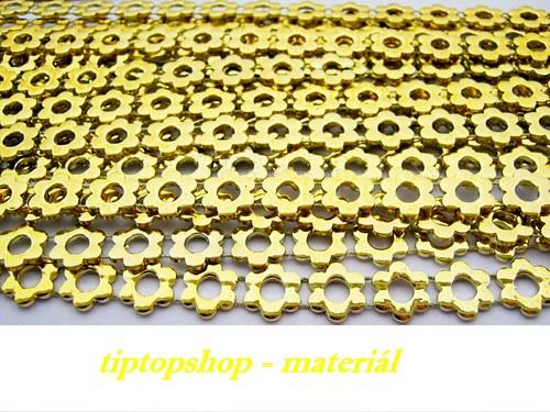 Prýmek kytička, plastový , zlatý 10mm (1m)