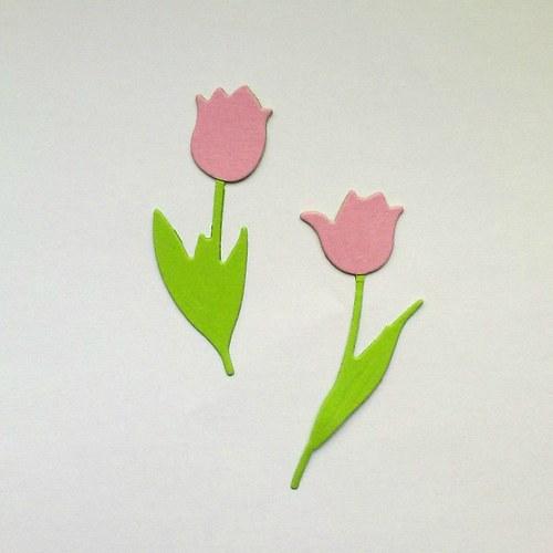 Výsek - tulipány růžové  2ks