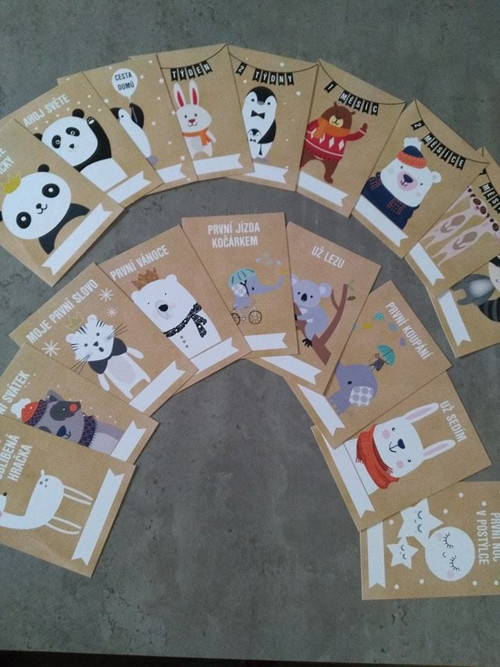 Milníkové kartičky - 32 kusů
