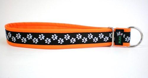 Obojek stahovací tlapkový oranž
