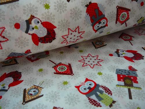 sleva z 99,- vánoční sovičky na bílém-dovoz 140 cm