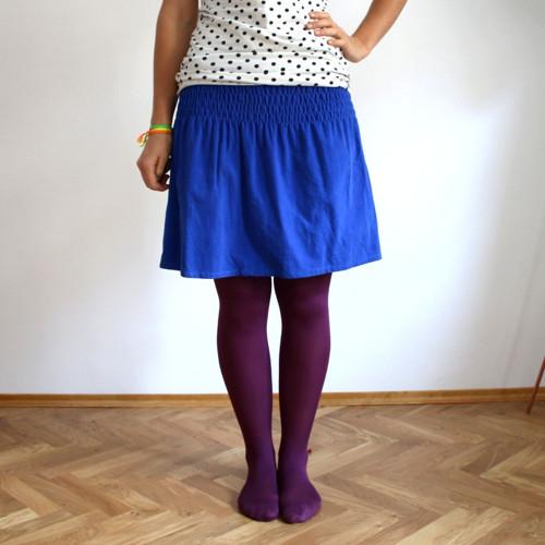 Žabková suknička, manžestrová - modrá :) M/L