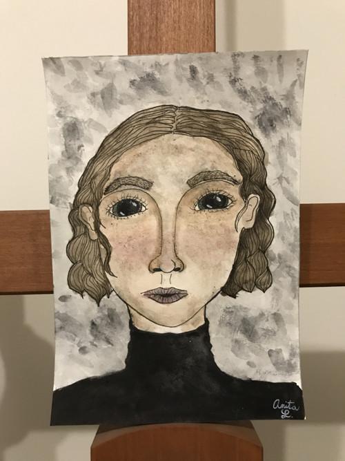 """Akvarel """"Temná myšlenka"""""""