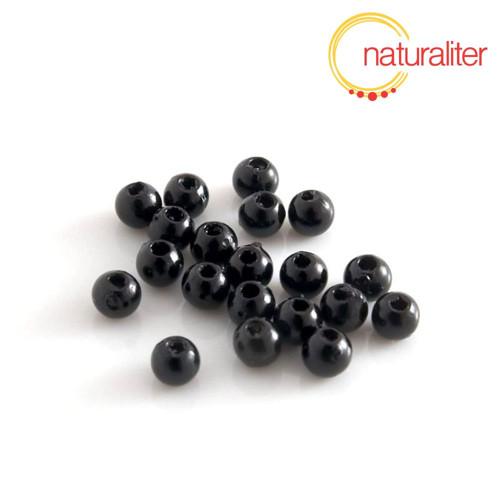 Voskované perly, černé, 4mm, 100ks