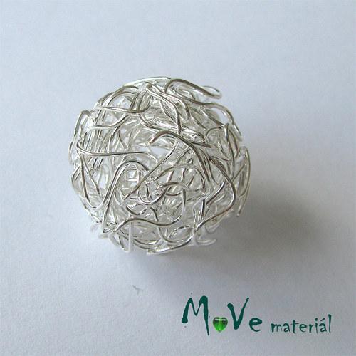 Kovový korálek klubíčko, stříbrné, 28mm, 1ks