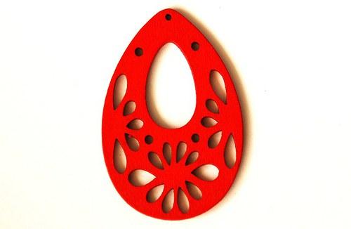Dřevěné kapky- červené