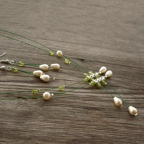 Zelenosmetanový déšť - náhrdelník