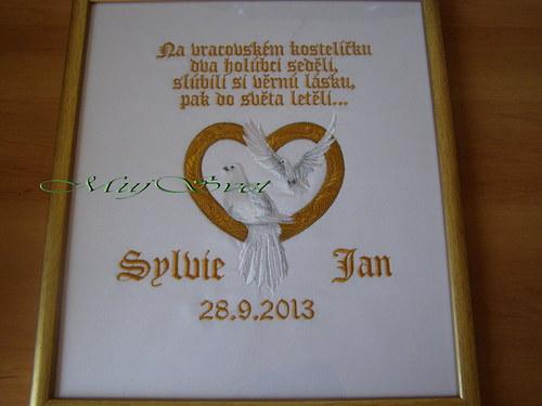 Holubice lásky-vyšitý obraz (svatební dar) větší