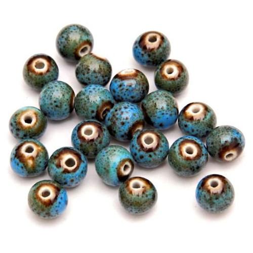 Keramické korálky 8mm tyrkysové, 4 kusy