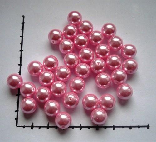 Perle skleněné voskované růžové 10mm, 6ks