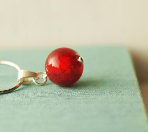 přívěšek ,, Zlatuška -červená,, © sklo+Ag 925
