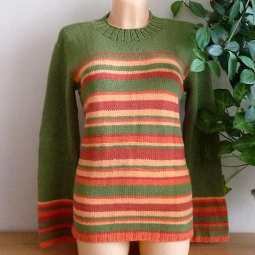 Pletený bavlněný svetr - proužkovaný