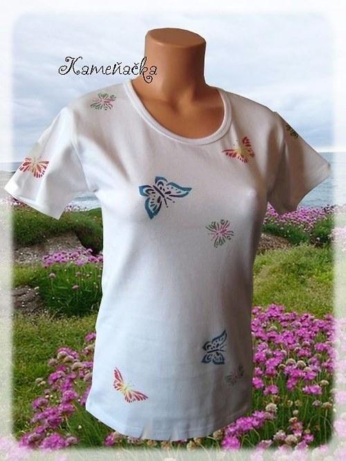 Dámské tričko s motýlky-zakázka