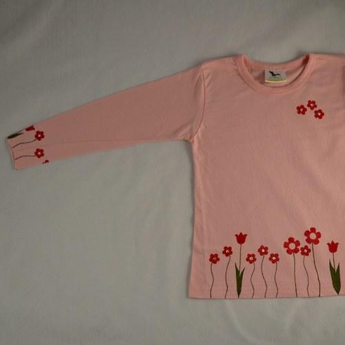 Růžové dětské tričko květinami (4 roky, dl. rukáv)