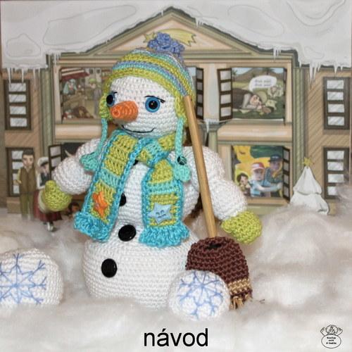 Sněhuláček pořádníček_návod na háčkovanou figurku