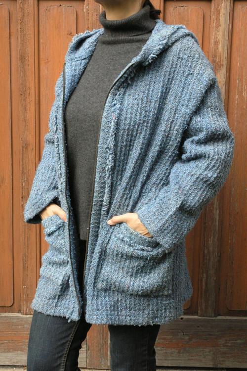 Kabátek velký, modrá vafle – kapuca