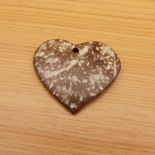 Kokosové srdce  - 3cm - přírodní