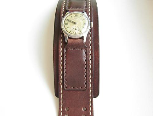 Černý kožený pásek na hodinky Glashutte