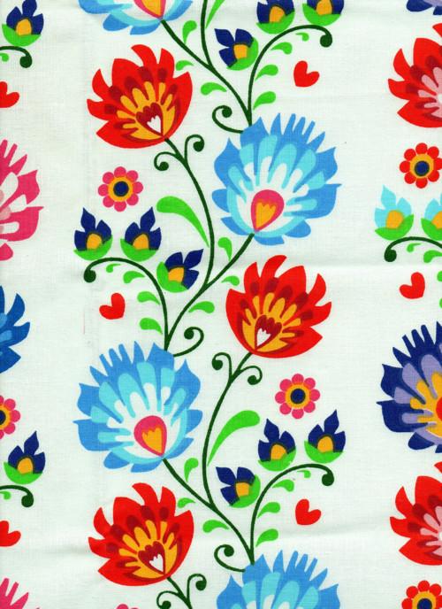 Látka, květiny, staročeské, barevné syté