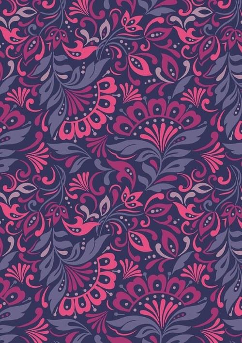 Látka Manor House fialovo/růžové květy