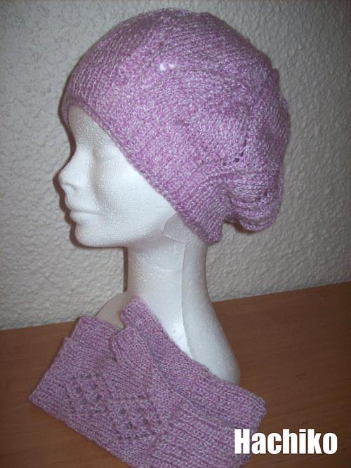 Pletený baret světle fialové barvy