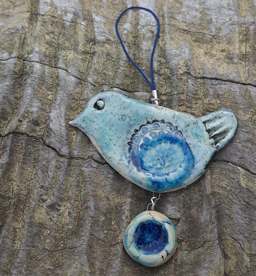Závěs  s ptáčkem - v modré