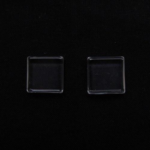 Skleněný kabošon čirý čtvercový - 15x15 mm - 5 ks