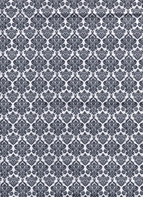 Látka s potiskem, barokní vzor, šedomodrá