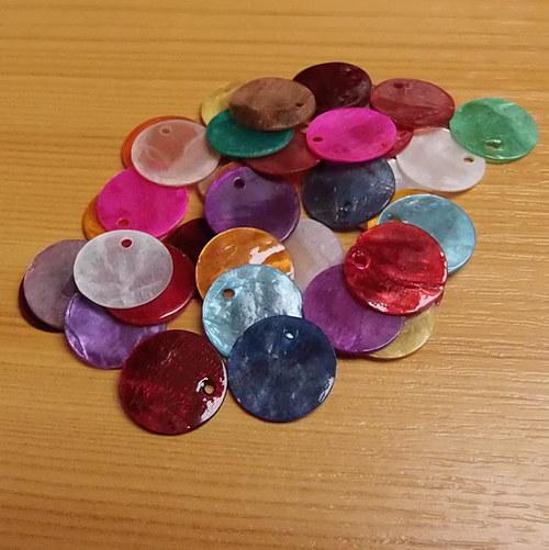 Perleťové penízky - 15 mm - průsvitné