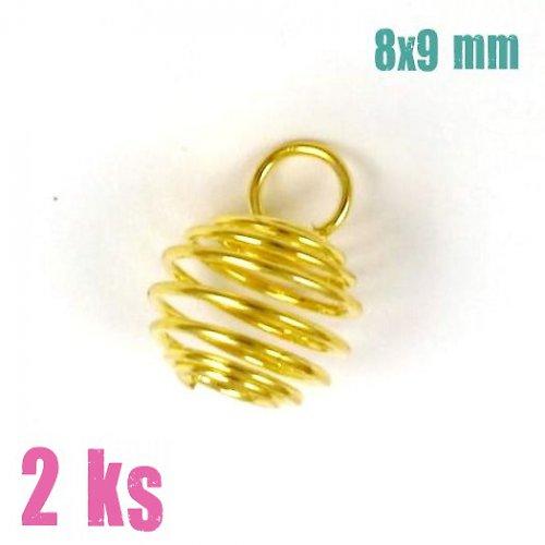 Zlatá klec na korálek s očkem 8x9 mm, 2 ks