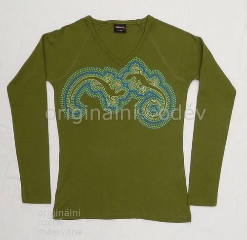Malované tričko dámské - ještěrky - zelené
